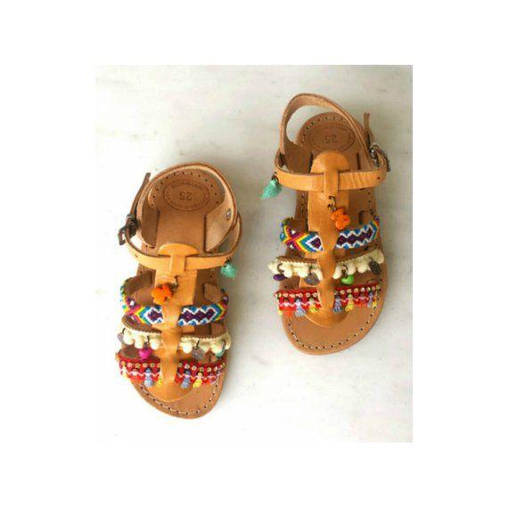 5c2fd3ac6 Girls gladiator sandals|Kids boho sandals|Daughter sandals|Pompom sandals|Ethnic  flip flops|Greek le