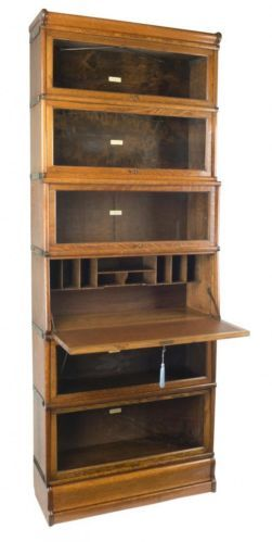 Oak Globe Wernicke Secretaire Bookcase C 1900 The Small Writing Desk Section Of This Is A Simple And Easy Variation To Standard