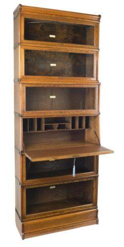 Oak Globe Wernicke Secretaire Bookcase c.1900. The Secretaire (small ...