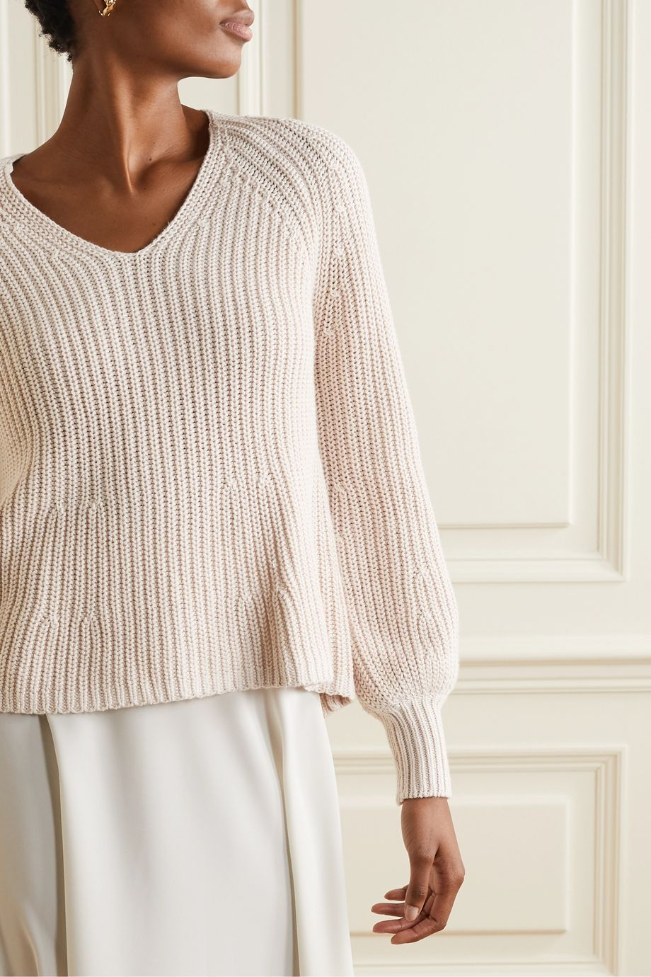 Blush Sequoia ribbed cotton and cashmere blend sweater