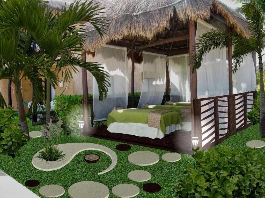diseño de jardines online - yin yang - iluminación noche ...
