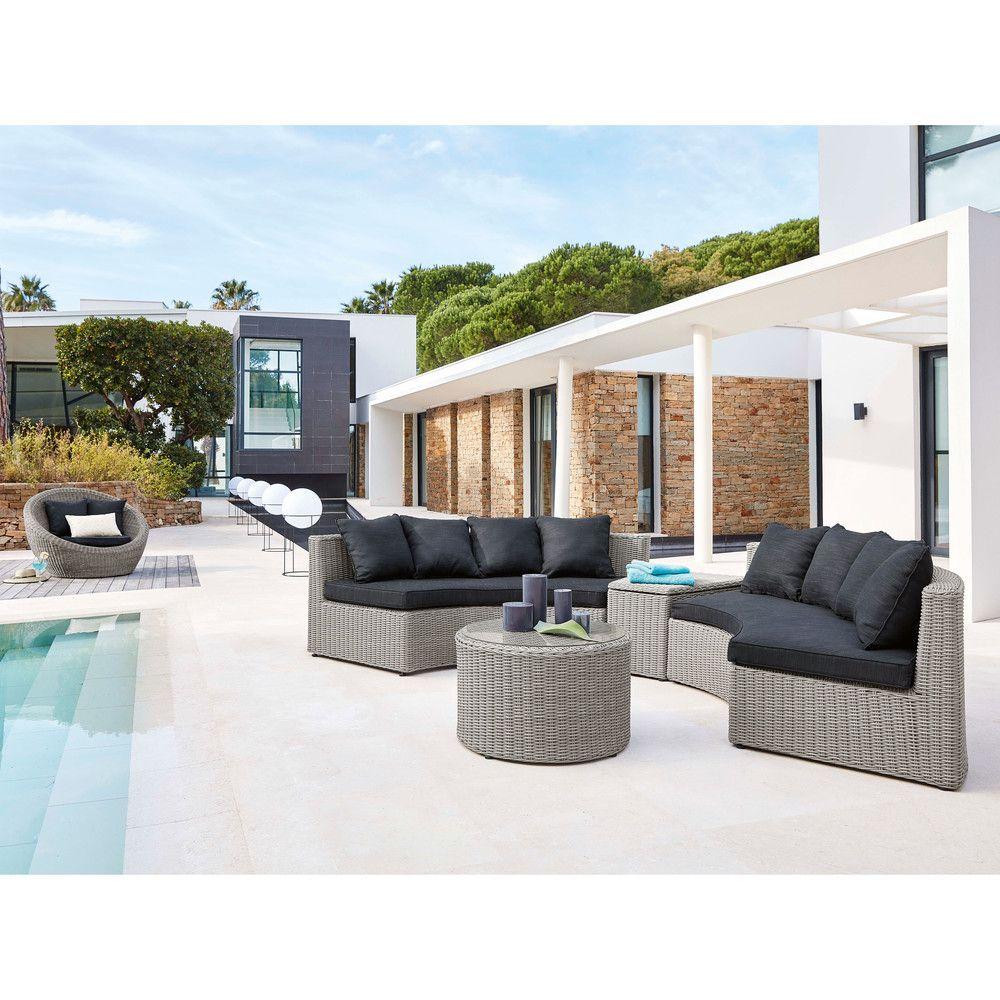 Salon de jardin rond en résine tressée grise   piscine ...