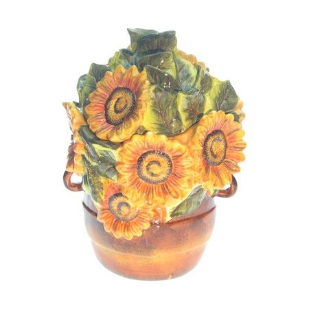 Hand-painted stoneware cookie jar with sunflower motif. Product: Cookie jar   Construction Material: Stoneware   ...