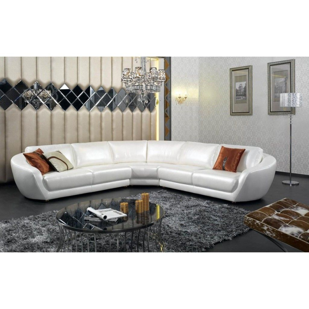 Modern Italian Leather Sectional Sofa Contemporary Pearl White Living Room New