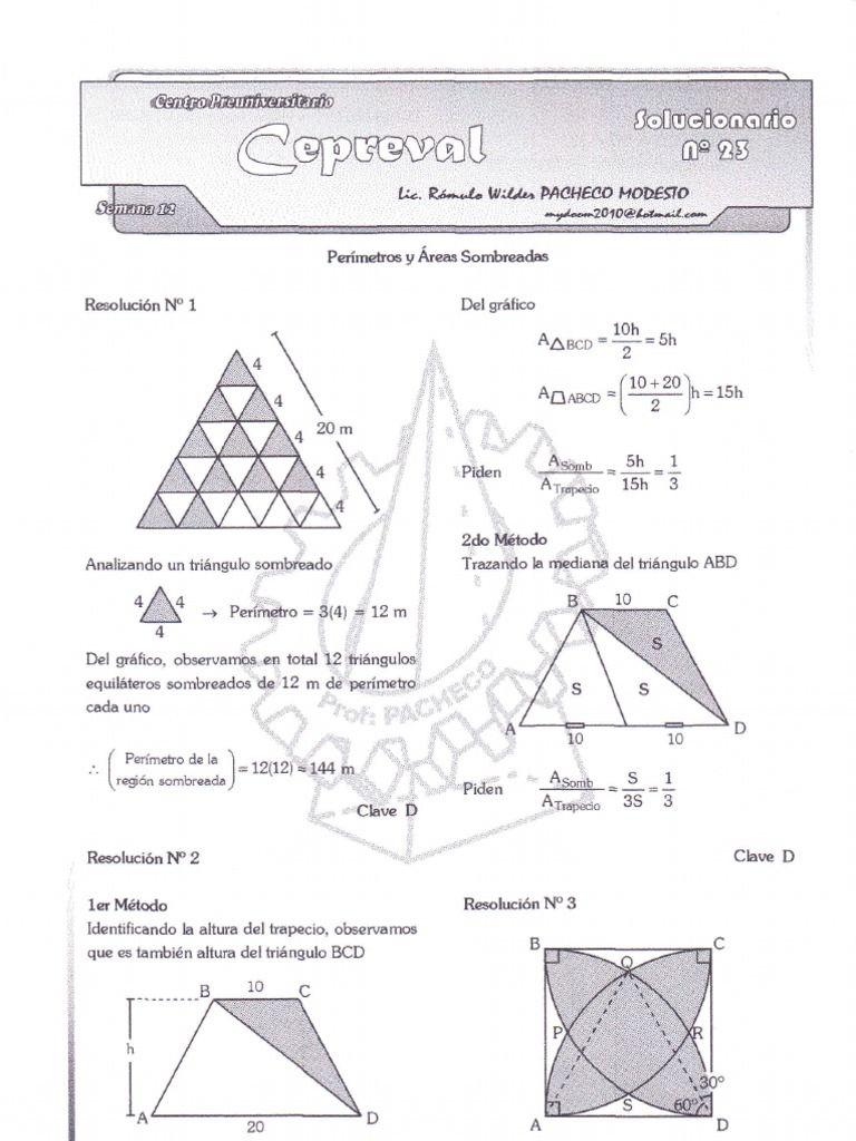 Problemas Sobre Perimetros Y Areas Sombreadas Matematica Enem