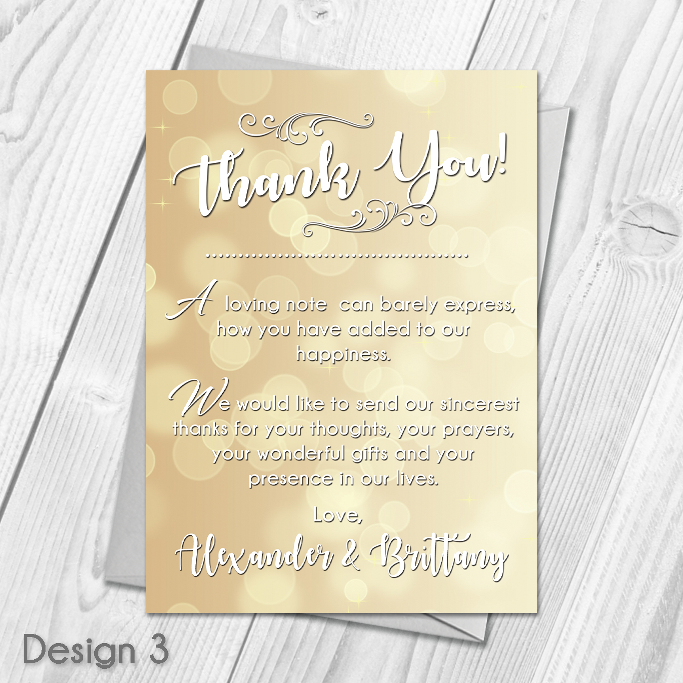 Personalised Sparkle Wedding Day Thank You Cards | Guest Thanks ...