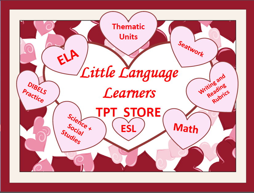 Little Language Learners is a TpT store that specializes in early primary educational resources. Come on in and see beautifully designed thematic units, art projects, reading and writing rubrics.  All resources are aligned with CCSS and WIDA.