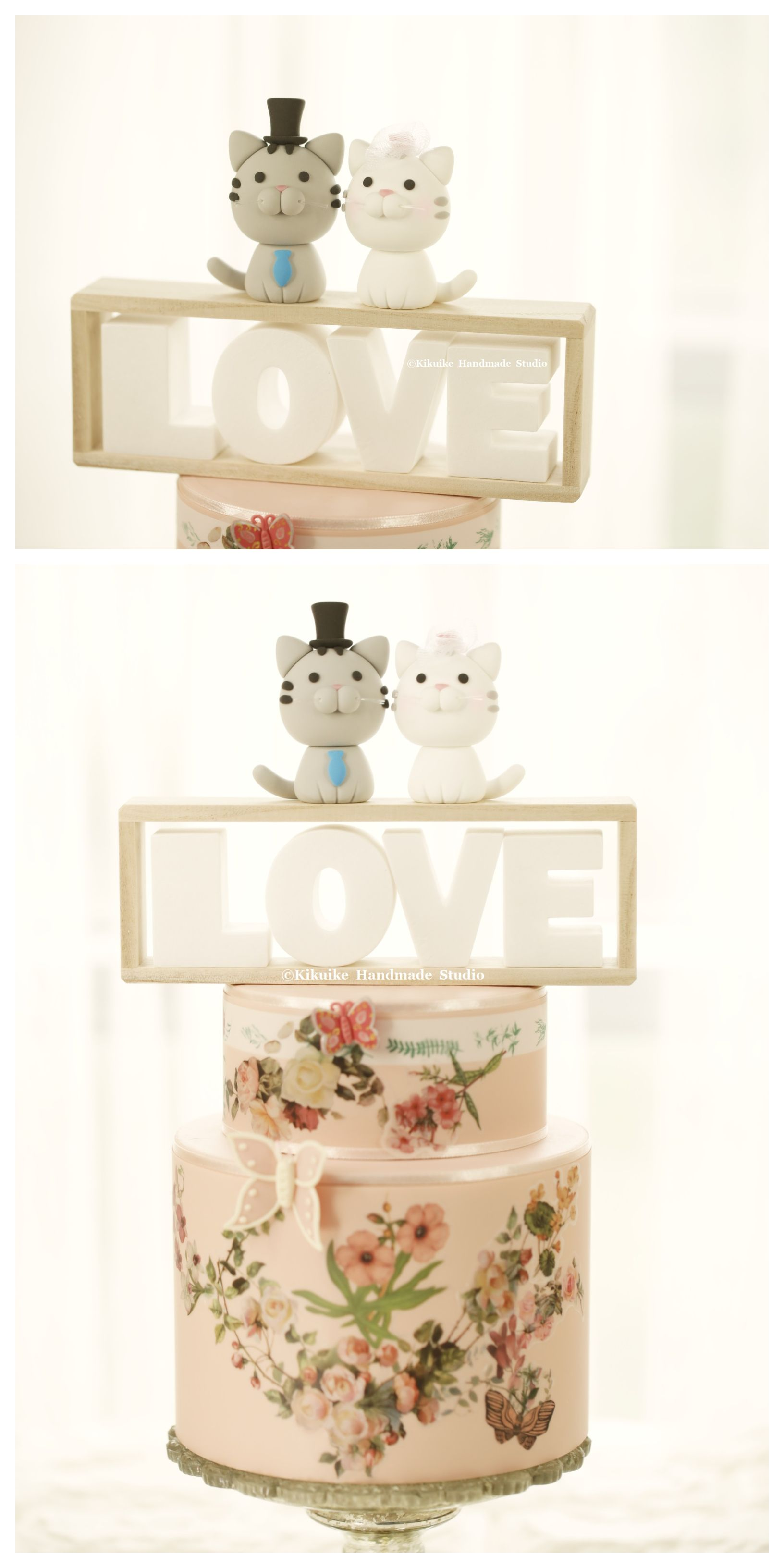 cat wedding cake topper, kitty Wedding Cake Topper for