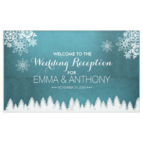Country Rustic Pines Winter Wedding Reception Banner Winter