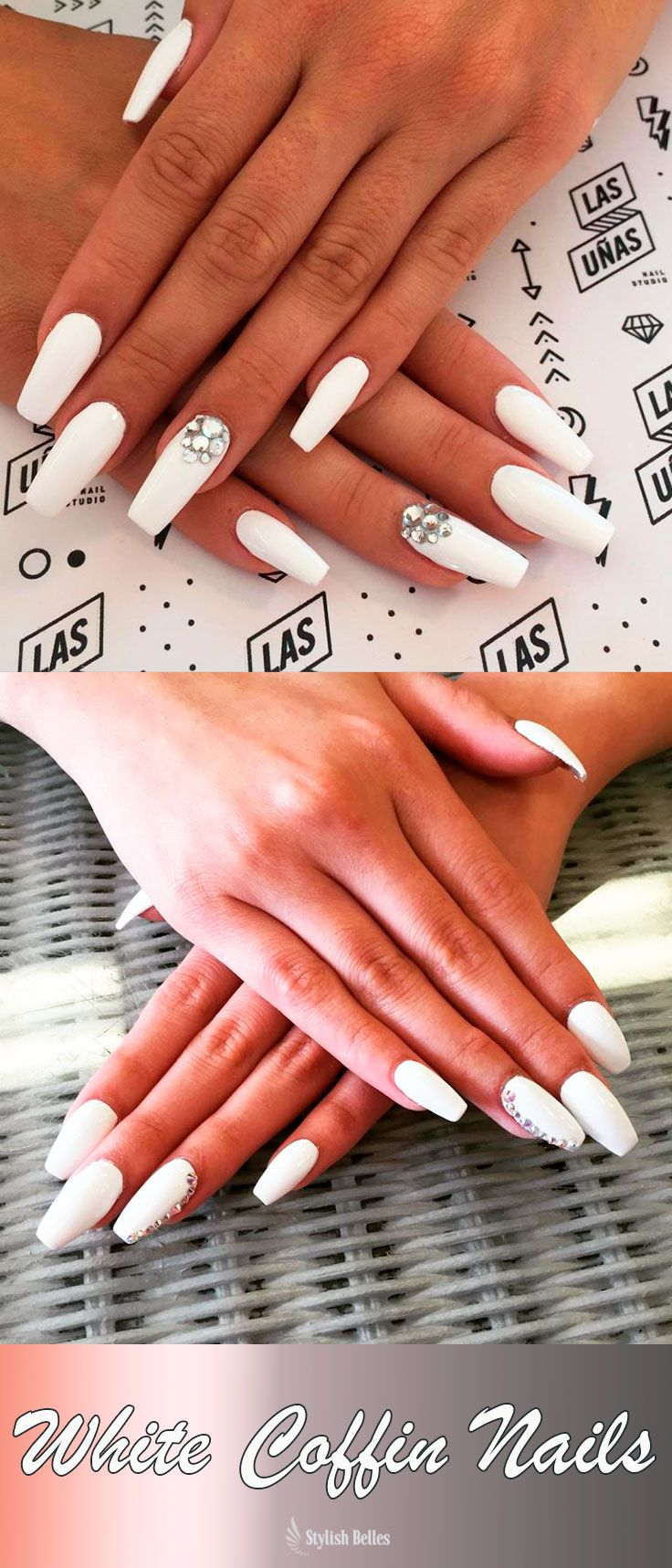 The Best Coffin Nails Ideas That Suit Everyone With Images Shiny Nails Designs White Coffin Nails White Nails