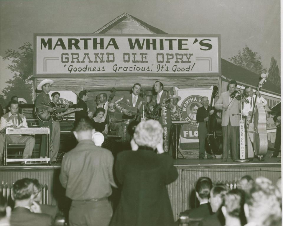 Teddy and Doyle, on stage at the Grand Ole Opry ~ 1950's. Mother Maybelle  Carter behind, left, playing Autoharp.   Opry, Grand ole opry, Carter family