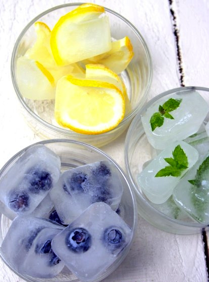 GET FANCY WITH ICE CUBES! Add Herbs Or Fruit To Your Ice Cubes. I Love The  Iced Tea Ice Cubes! Or The Mint Sprigs In The Ice Cubes To Flavor Your Tea.