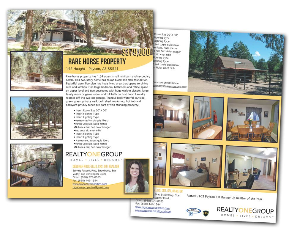 Realestate Double Sided Just Listed Flyer Branded Design