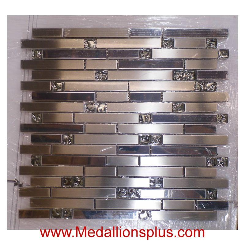 Stainless Steel And Glass Ice Backsplash Medallionsplus Com Floor Medallions On Sale