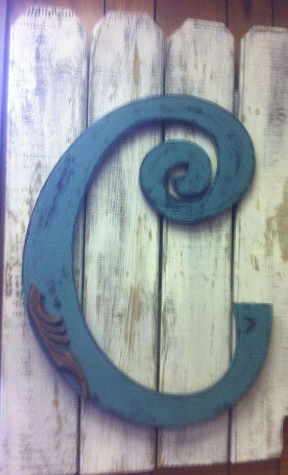 Letter C Initial C Door Hanger Decor Garden Fence Outdoor