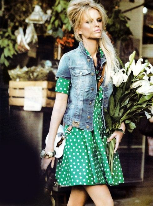 cute ... green polka dot dress + short sleeve denim jacket + hair style