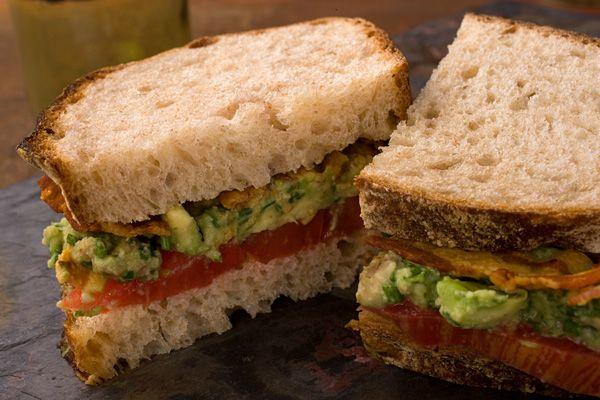 Avocado spread on BLT sandwich