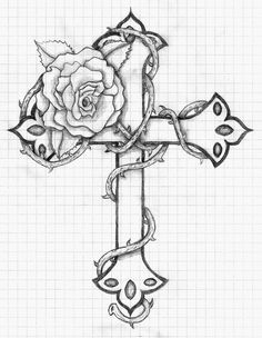 Cross With Roses Colouring Pages