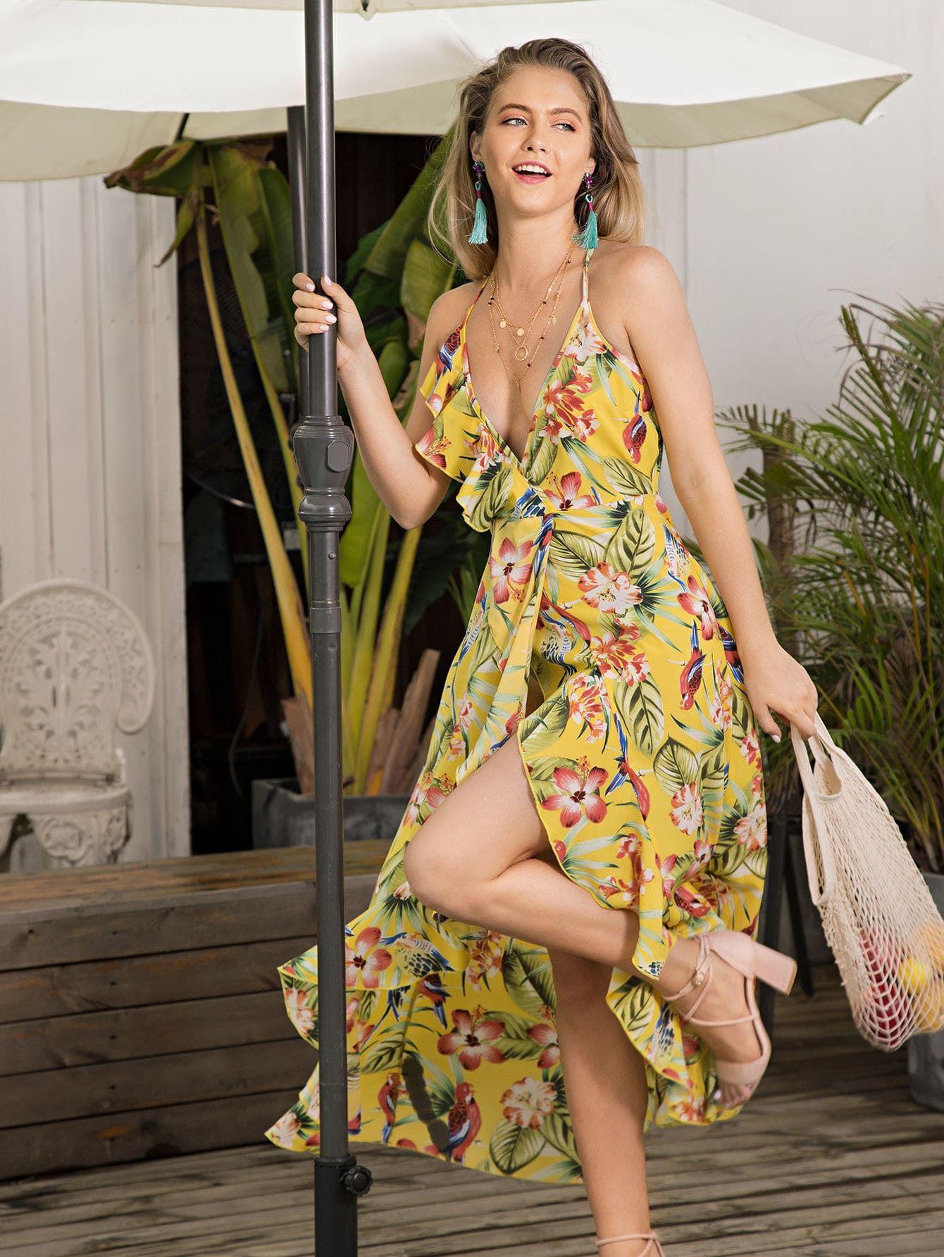 d22e5dfab Vestido bajo asimétrico ribete fruncido con estampado floral-Spanish ...