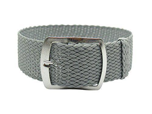 Swiss Reimagined 22mm Grey Perlon Tropic Braided Woven Watch Strap