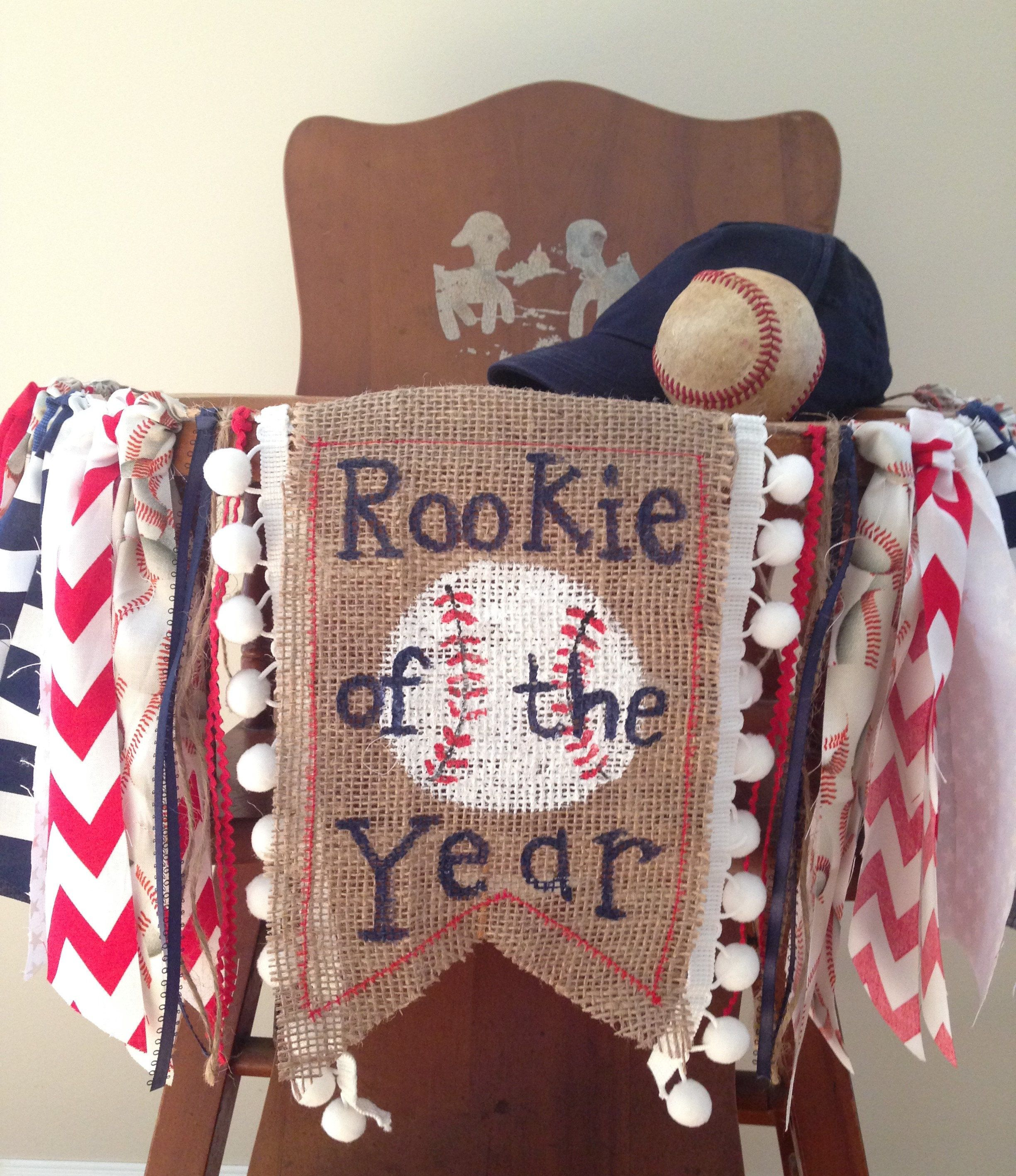 Baseball Birthday High Chair Bannerrookie Of The Yearcake Smashparty Decorphoto
