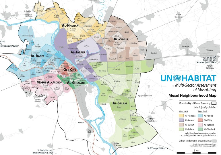 Good Mosul map via UNHABITAT as we start to talk about