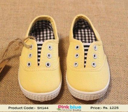 f5a556c0ef4b Shop Online Designer Cute Yellow Infant Boys Shoes with a Black Checks