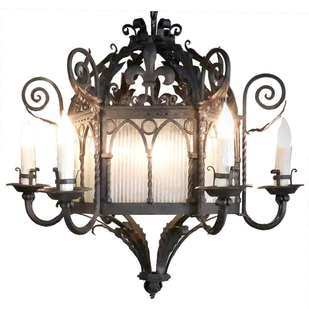 Antique country french wrought iron lantern chandelier lantern antique country french wrought iron lantern chandelier aloadofball Gallery