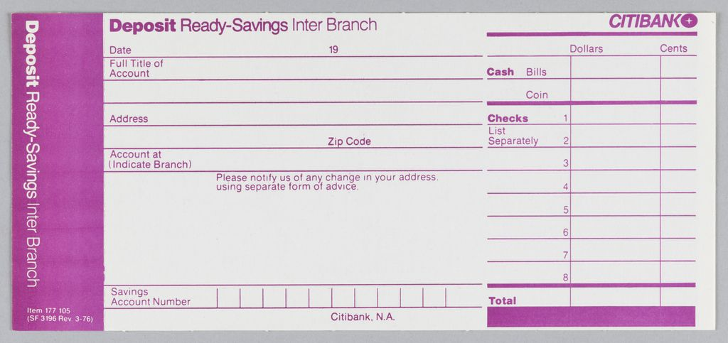 Citibank deposit form in three vertical registers with