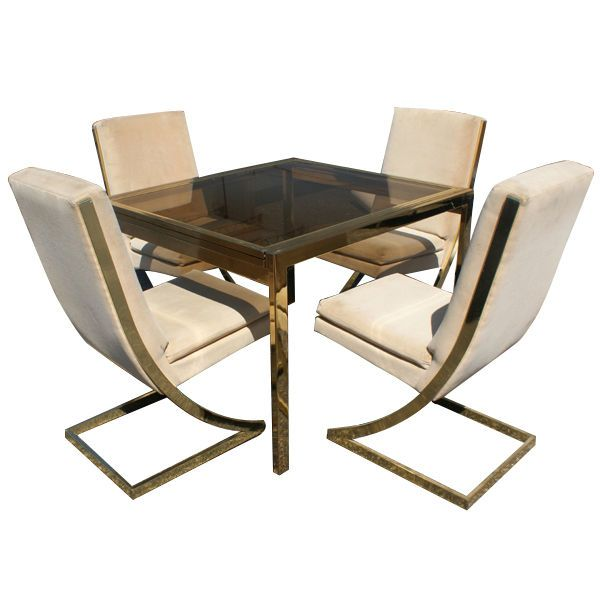 Milo Baughman For Thayer Coggin Brass Dining Table And Chairs