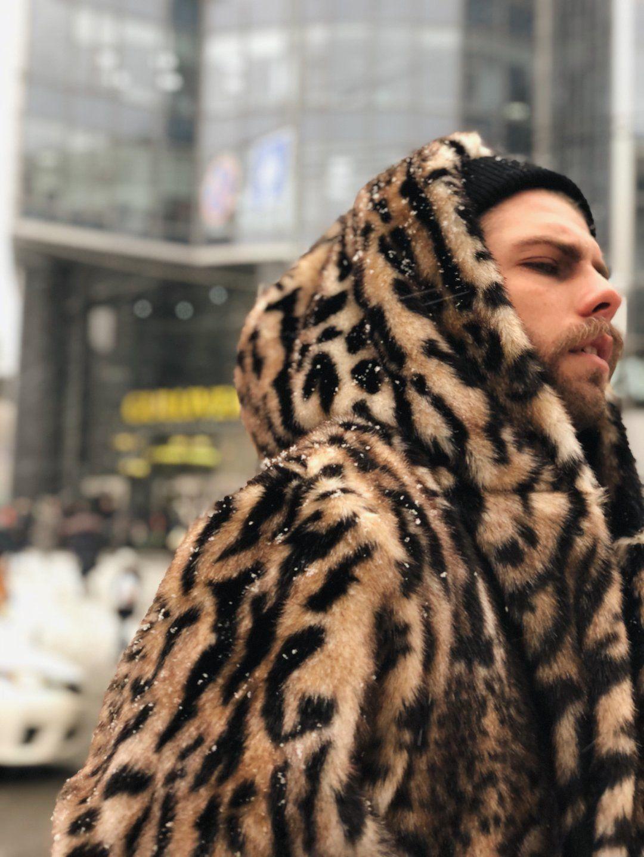 c0bf4bfdd4 Men s leopard faux fur jacket   Classic leopard faux fur jacket  wild cat  faux fur