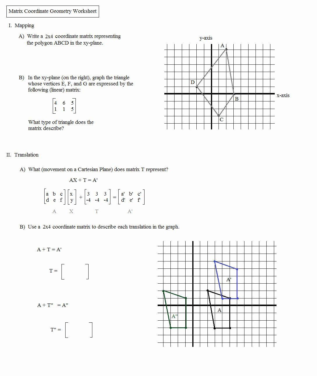 Dilations Translations Worksheet Answers Luxury Math Plane Matrix
