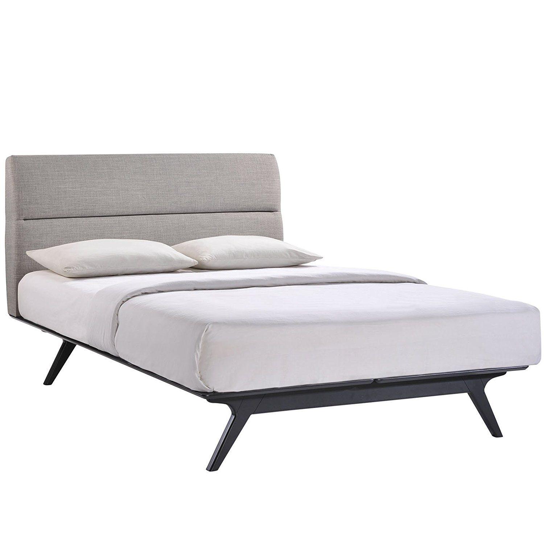 Best Amazon Com Modway Addison Mid Century Modern Queen Platform Bed In Black Gray Kitchen Dining 640 x 480