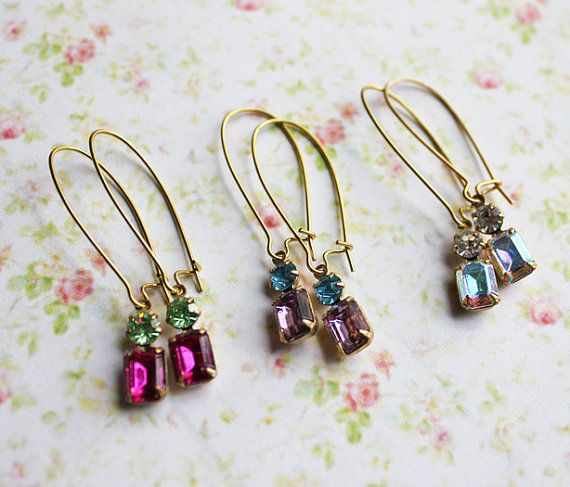 Petite Vintage Glass Jewels Earrings  by roses and lemons