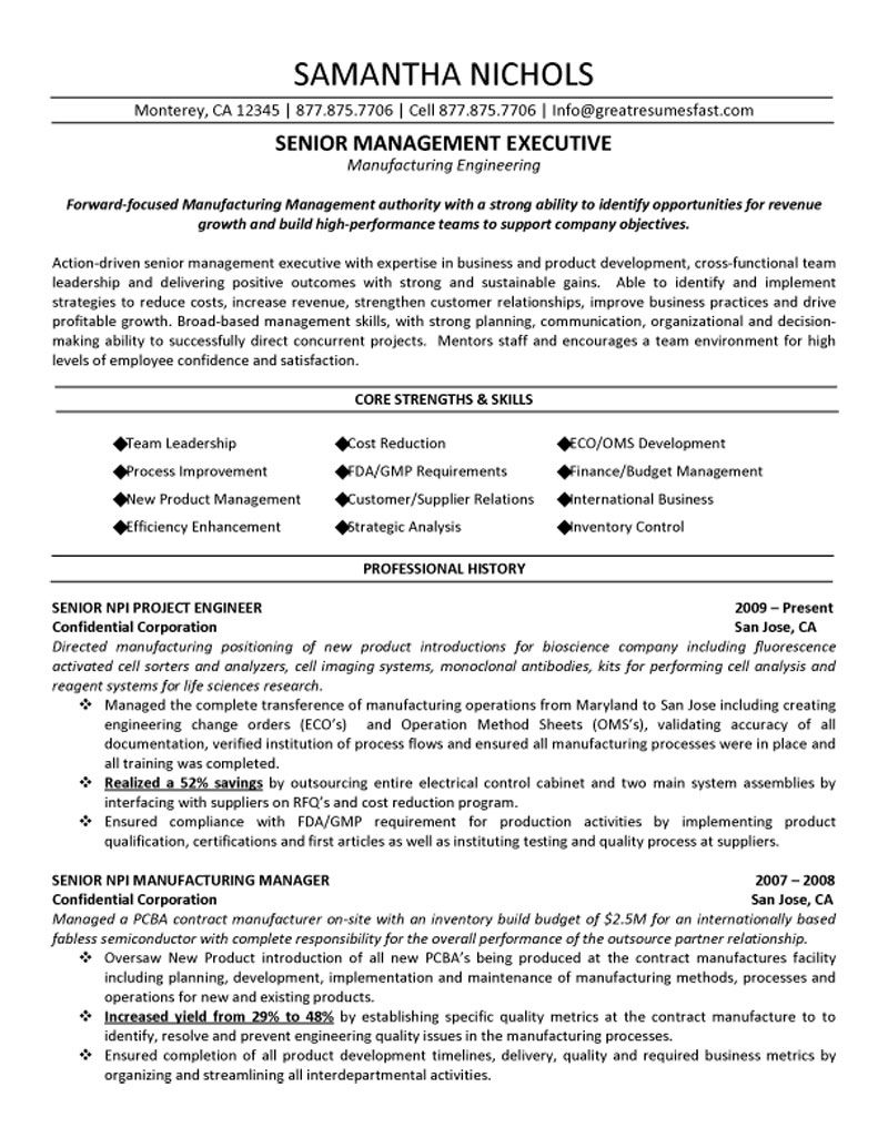 Senior Management Executive Manufacturing Engineering Resume - Management resume templates free