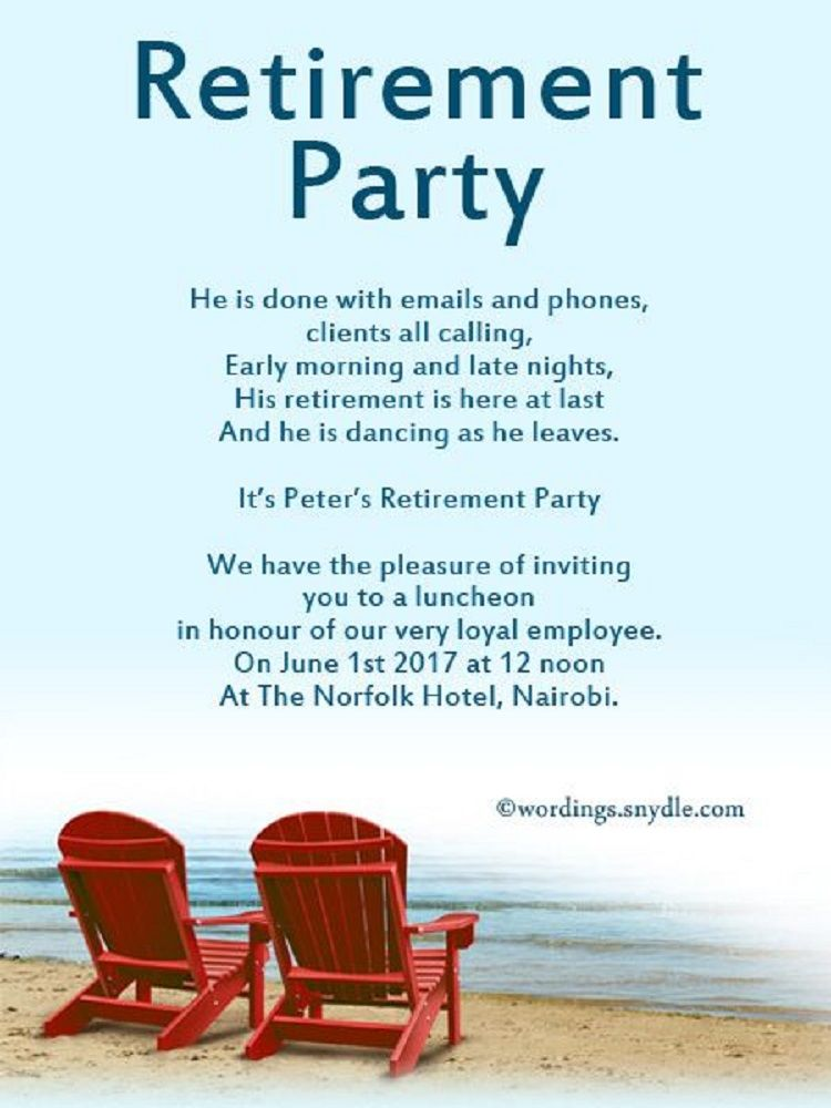 Retirement party invitations wording Invitation Ideas in 2019