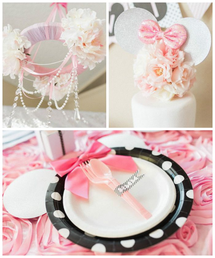 Elegant Minnie Mouse Boutique Birthday Party via Karas Party