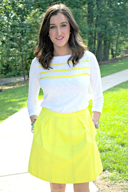Yellow Summer Work Outfit | J.Crew Yellow Skirt, Tommy Hilfiger White and Yellow Striped Top