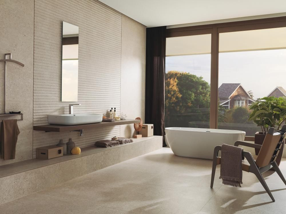 אריח קרמיקה תלת מימד Mombasa Prada Caliza 45 120 של חברת פורצלנוסה Porcelanosa Bathroom Inspiration Unique Interior Design Bathroom Design