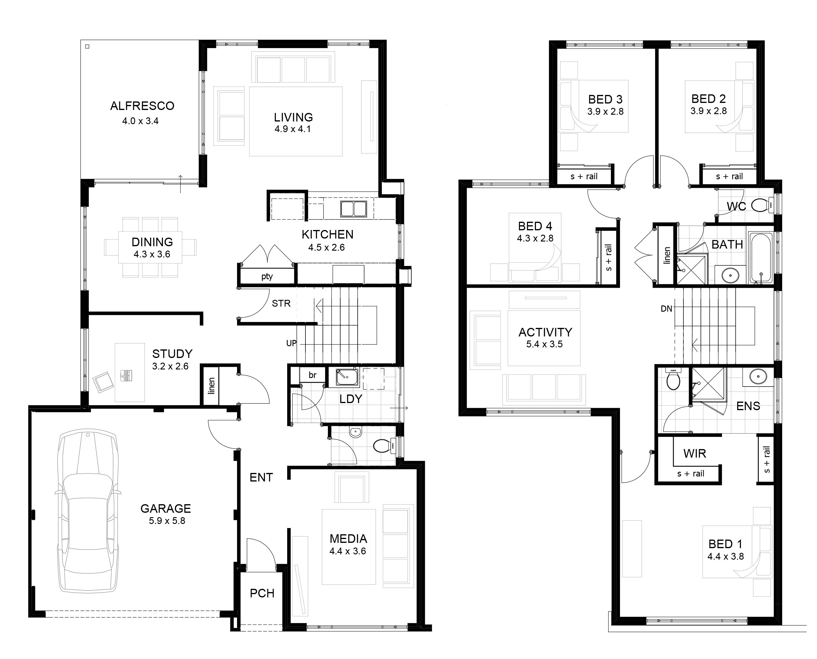 Home Design Modern 2 Story House Floor Plans Shabchic Style Regarding 2storyhouseplans Double Storey House Plans Two Storey House Plans House Plans Australia