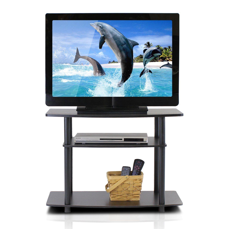 Dark Brown//Black Furinno TV14038DBR//BK Turn-S-Tube No Tools 3-Tier Entertainment TV Stands