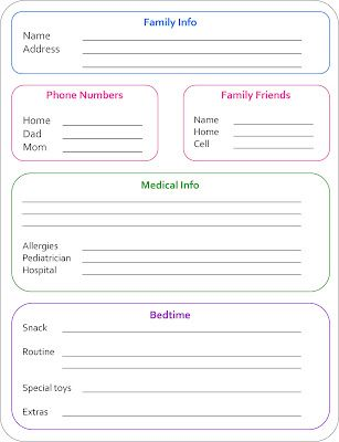 Babysitter Notes Free Printable Free printable, Babysitting and Free - emergency contact forms
