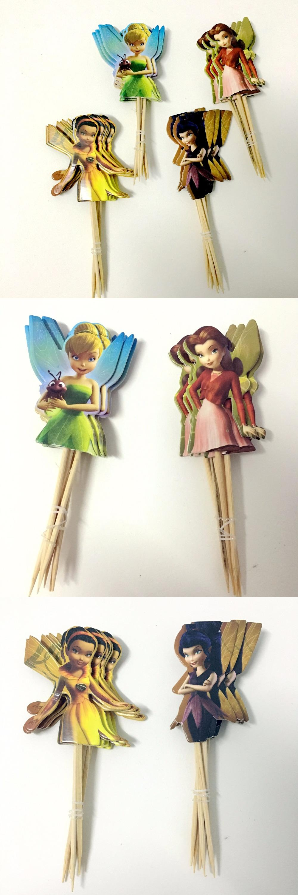 Visit to Buy] 24pcs Adorable Flying Fairy Tinkerbell Cup cake Topper ...