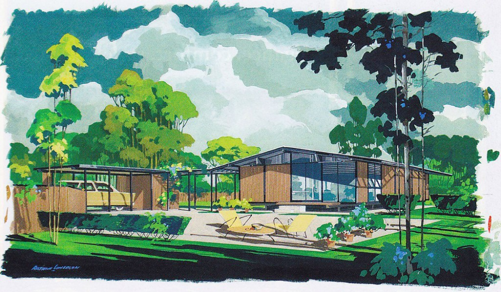 Cliff May Ranch House Rendering In 2020 Architecture Drawing Cliff May Modern Ranch