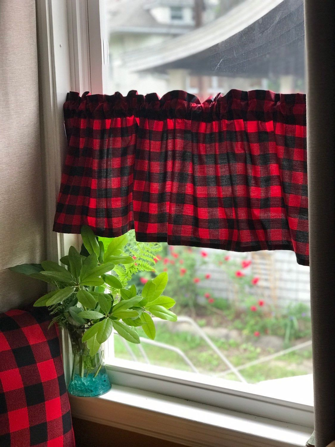 Custom Red And Black Farmhouse Buffalo Check Valances In Carolina Gingham 1 Check Buffalo Check Curtains Check Curtains Decorating Your Home