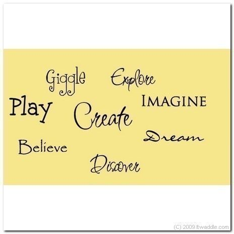 PLAYROOM -Create, Giggle, Explore, Imagine - Vinyl Wall Lettering ...