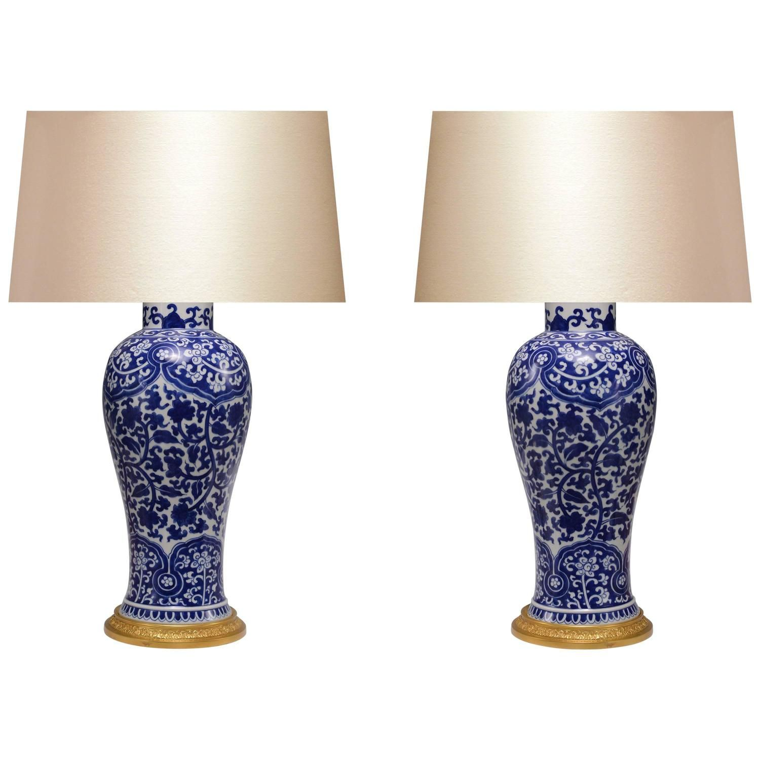 Pair Of Blue And White Porcelain Lamps Porcelain Lamp White Porcelain Lamp