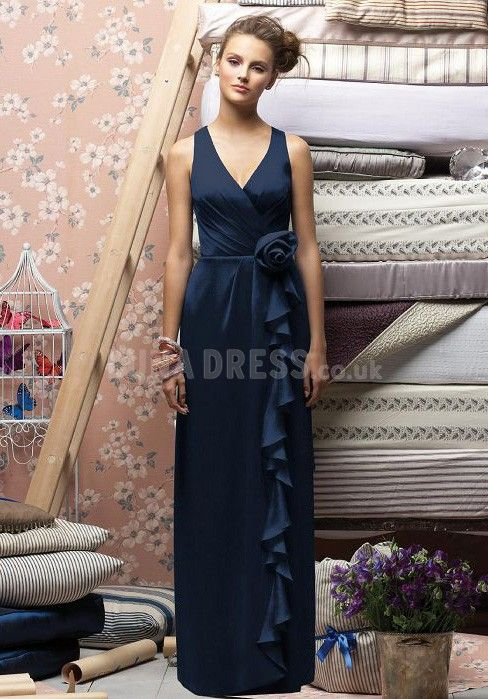 Glorious A line V Neck Floor Length Natural Waist Bridesmaid Dress