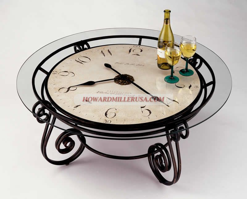 615010 Ravenna Howard Miller Clock Coffee Table This Handsome Clocktail Treats Form And Function As One Beautiful Decorative Metal Work Surrounds