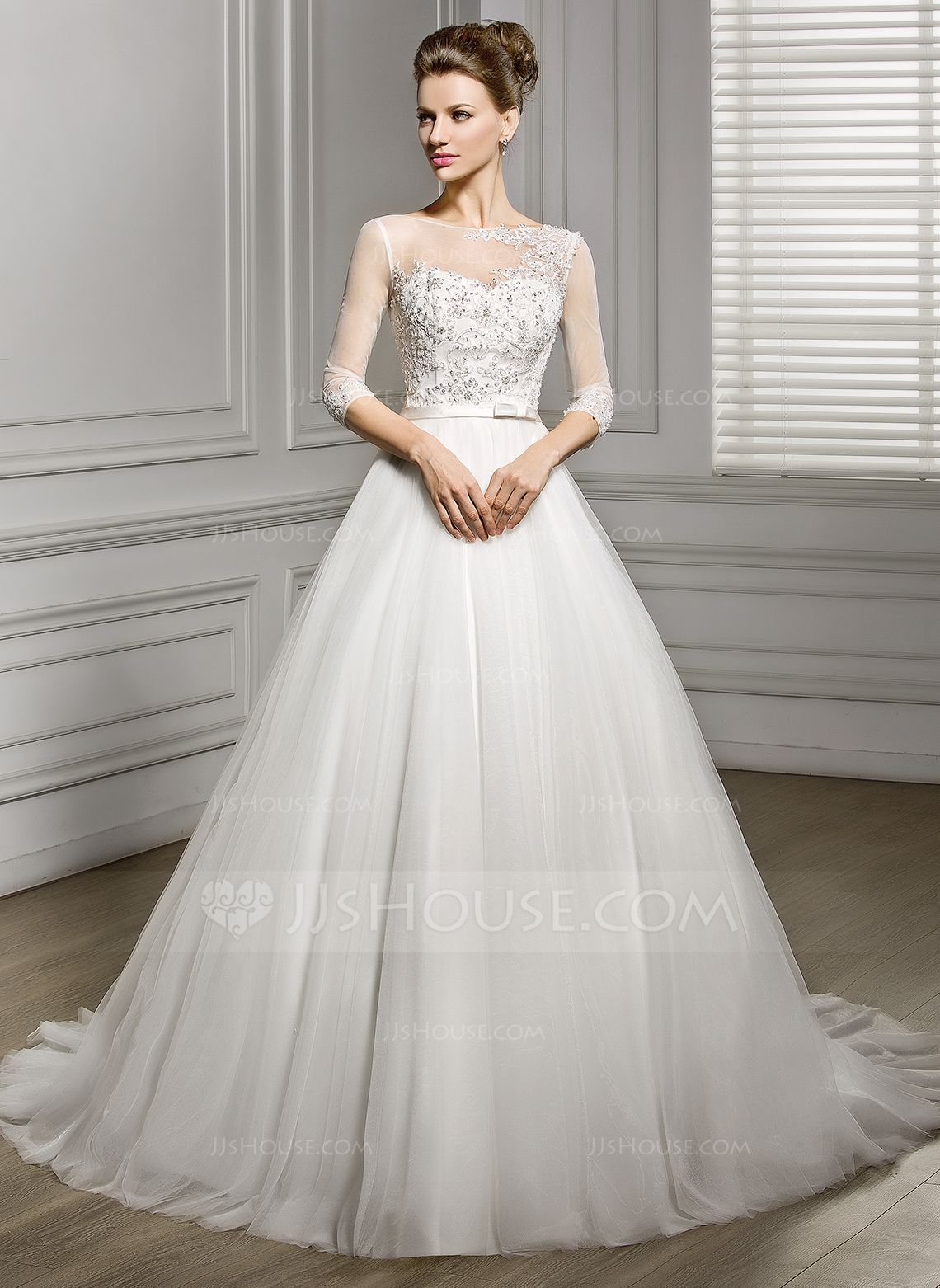 A-Line/Princess Scoop Neck Court Train Satin Tulle Wedding Dress With Beading Appliques Lace Sequins Bow(s) (002056956) - JJsHouse